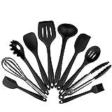 10 Stück Premium Silikon Küchen Backen BBQ Set - GrillZange, Schneebesen, Bürste, Spatel,...