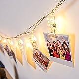 20 LEDs Foto Clips Lichterketten, Warmweiß Dauerlicht für Bilder Fotos Karten Hängen,...