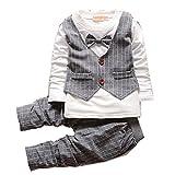 Yaodgfa Baby Jungen Set Shirt Bowknot Langarm Hemd + Hose Ausstattung Trenchcoat kleidung...