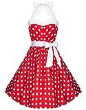 Zarlena Damen Rockabilly Kleid Polka Dots Punkte Tupfen Retro 50er Neckholder Rot mit weissen Dots...