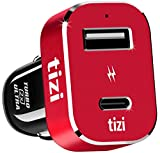 NEU equinux tizi Turbolader 2x ULTRA 42W (Monza Rot Edition), Hochleistungs-KFZ-Ladegerät mit USB-C...