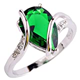 YAZILIND Vintage Wedding Smaragd Waterdrop Kristall-Silber überzogenen Statement Ring für Frauen...