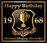 3 St. Aufkleber Original RAHMENLOS® Design: Selbstklebendes Flaschen-Etikett zum 50. Geburtstag:...