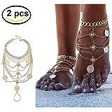 Silbermünze Blessing Symbol Quaste Fußkettchen Boho Vintage Fußkettchen 1 Paar Fuss-Schmuck...
