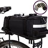 BTR Deluxe wasserfeste Fahrradtasche für den Gepäckträger – schwarz – mit integriertem...