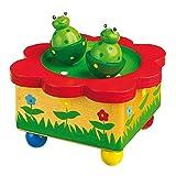 Spieluhr 'Froschteich' / Babyspielzeug aus Holz, mit abnehmbaren, bunten Magnet-Figuren, tanzende...