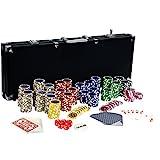 Ultimate Black Edition Pokerset, 500 hochwertige 12 Gramm METALLKERN Laserchips, 100% PLASTIKKARTEN,...