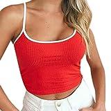 Damen T-Shirt Armelloses Top,TUDUZ Frauen Verstellbare Schultergurte Runden Hals Leibchen Crop Top
