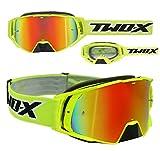 TWO-X Rocket Crossbrille schwarz gelb Glas verspiegelt iridium MX Brille Nasenschutz Motocross...