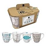 PPD Cabana Henkelbecher-Set, 4er Set, Kaffeebecher, Kaffee Tasse, Magnesiumporzellan, Taupe /...