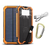 Externe Akku,15000mAh Dual USB Tragbare Solar Ladegerät,Power Bank für iPhone und...