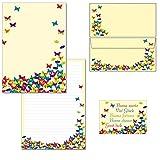 Schmetterlinge - 1 Schreibblock Briefblock DIN A4 + 15 Briefumschläge DIN lang + 2 Postkarten...