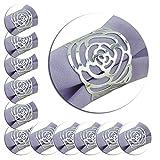 12Stück Serviette Ringe, Hollow Out Rose Design Metall Ring Abendessen Tuch Halter Cover für...