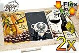 Picknick- & Herdabdeckplatten 2-tlg. Set braun und weiß, italienisches Glasdesign, Farbwahl per...
