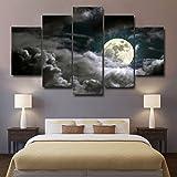 LA VIE 5 Teilig Wandbild Gemälde Mond und Wolke Hochwertiger Leinwand Bilder Moderne Kunstdruck als...
