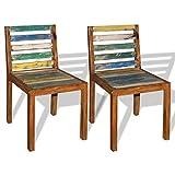 Festnight 2 Stk. Esszimmerstühle Set Essstuhl Küchenstuhl aus Recyceltes Massivholz Vintage-Stil...