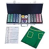 COSTWAY Pokerset Pokerkoffer 500 Laser-Chips Alukoffer Alu Pokerkoffer + Tuch + 2 Pokerdecks