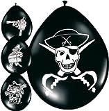 8 Luftballons Piratenparty-Deko schwarz-weiss Einheitsgröße