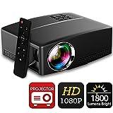 Beamer 1800 Lumens Full HD 1080P, BACAKYS Mini Tragbarer Heimbeamer LED Videoprojektor Auflösung...