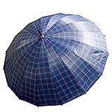 Automatik Regenschirm Sonnenschirm Partnerschirm Stockschirm Schrim XL 100cm (Blau)