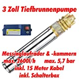 AT- 3' Brunnenpumpe 750W-1 mit 15 m Kabel Edelstahl-Tiefbrunnenpumpe mit Messing-Laufrädern und...