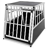 Hundebox Hundetransportbox Aluminium Transportbox Alubox Hund 1 Türig Reisebox Gitterbox Schwarz...