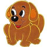 1 Stück _ 3-D Effekt _ XXL Bügelbild - ' Hund sitzt ' - 12,2 cm * 12 cm - Aufnäher & Applikation...
