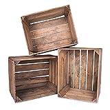 Obstkisten Apfelkisten 3er Set aus Holz Braun Vintage