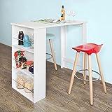 SoBuy® Bartisch, Beistelltisch, Stehtisch, Küchentheke, Küchenbartisch mit 3 Regalfächern,...