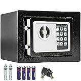 TecTake® Massiver Elektronischer Safe Tresor 17 X 23 X 17 cm schwarz inklusive 4 Batterien