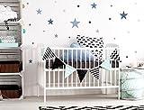 I-love-Wandtattoo WAS-10450 Kinderzimmer Wandsticker Set 'Sterne in einem zarten Pastell Blau und...