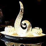 Elrozo 4Tlg Große Moderne Keramik Skulptur deko Kerzenhalter deko Dekoration (Silber)