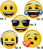 1 Stück _ Bügelbild - ' Emoji - mit Sonnenbrille - Brille ' - 6,8 cm * 6,6 cm - Applikation &...