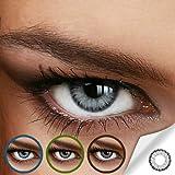 Farbige Jahres-Kontaktlinsen DIAMOND Light Gray - OHNE Stärke in Strong GRAU - von LUXDELUX® -...