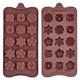 Silikon Schokoladenform Blumenförmig Backförmchen Süßigkeit Muster Jelly Ice Behälter für...