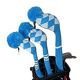 Blau weiß Argyle Stil Pom Pom Golfschläger Schutzüberzug 3 Stück verpackt für 460cc Driver,...