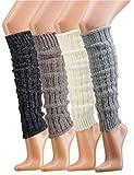 Krautwear® Damen Mädchen 1 Paar Beinwärmer Stulpen Legwarmers Grobstrickstulpen mit Alpakawolle...