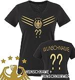 Comedy Shirts - WM 2014 - DEUTSCHLAND - DELUXE F1-VH-Wunsch - Damen V-Neck T-Shirt - Schwarz / Gold...
