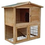 dibea RH10011, Kleintierstall Holz (98 x 54 x 100 cm), geräumiger 2-Etagen Käfig, 3 Türen, für...