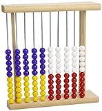 Zählrahmen 918 - Holz, Plastik-Perlen in blau, gelb, rot, weiss, 25cm