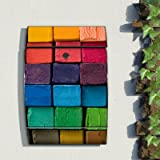 Wandbriefkasten motivX Design bunt bedruckt Arcus Edelstahl Briefkasten mit Motiv - Bunte Kreide