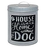 Metall Dose Futterdose Hund Leckerli Zink silber mit Aufschrift Home 16*12