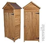 Geräteschrank vanvilla Geräteschuppen Holz Satteldach Braun lasiert Gerätehaus Gartenschrank