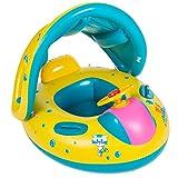 UClever Baby Schwimmsitz Aufblasbares Kinderboot Schwimmen Ring mit Sonnendach
