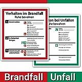 Schild Aushang Verhalten im Brandfall und Verhalten bei Unfällen als Set, 18x20cm, mit UV-Schutz,...