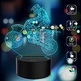 Neuheit 3D Illusionslampen Motocross Bike LED Nachtlichter USB 7 Farben Sensor Schreibtischlampe zum...