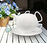 Buchensee Porzellan Tea for one / Tea4one / Teeservice / Teeset 4-teilig 'Schwanensee' 550ml, Fine...