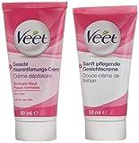 Veet Gesicht Haarentfernungs-Creme Set für sensible Haut mit Aloe Vera und Vitamin E, 2 x 50 ml