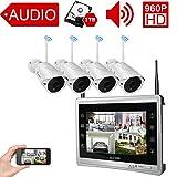 Luowice Audio Überwachungskamera Set Außen Kabellos mit 4 x 960P Wlan WiFi Sicherheitcameras 11'...