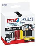 tesa On & Off Klettband Extra Stark / Selbstklebender Klettverschluss zum Fixieren und Befestigen /...
